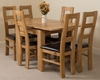 Richmond Oak 90 - 150 cm Extending Dining Table & 6 Yale Solid Oak Leather Chairs