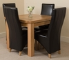 Richmond Oak 90 - 150 cm Extending Dining Table 4 Black Lola Leather Chairs