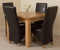 Richmond Oak 90 - 150 cm Extending Dining Table 4 Brown Lola Leather Chairs