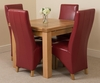 Richmond Oak 90 - 150 cm Extending Dining Table 4 Burgundy Lola Leather Chairs