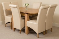Furniture  - Richmond Oak 90 - 150 cm Extending Dining Table 6 Ivory Montana Chairs