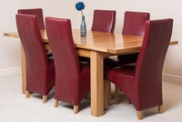 Tables  - Seattle Solid Oak Extending Dining Table & 6 Burgundy Lola Leather Chairs