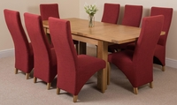 Seattle Solid Oak Extending Dining Table & 8 Red Lola Fabric Chairs