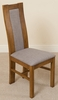 Stanford Solid Oak Rustic Wood & Grey Fabric Dining Chair