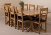Tables Vermont Solid Oak Extending Dining Table & 8 Lincoln Oak Leather Chairs
