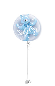 Other Occasions  - Baby Boy Double Bubble New Baby Balloon Gift