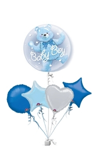 Other Occasions  - Baby Boy Double Bubble New Baby Bunch of Balloons Gift