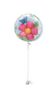Other Occasions  - Flower and Butterfly Double Bubble Get Well Balloon Gift
