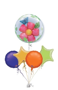 Other Occasions  - Flower and Butterfly Double Bubble Get Well Bunch of Balloons Gift