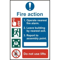 Home Security  - ASEC Fire Action Procedure 200mm x 300mm PVC Self Adhesive Sign