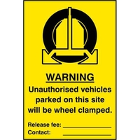 "Home Security  - ASEC ""Unauthorised Vehicles Parked On This Site Will Be Wheel Clamped"" 200mm x 300mm PVC Self Adhesive Sign"